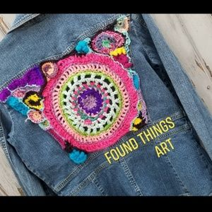 Crochet Upcycled Jean Jacket